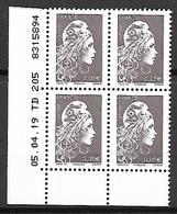 FRANCE   -   2019.  Marianne De  0,05 € En Bloc De 4 **,  Coin Daté Du 05.04.19 - Ecken (Datum)
