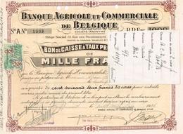 Titre Ancien - Banque Agricole Et Commerciale De Belgique - Titre De 1936 - - Banque & Assurance