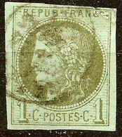 EXTRA BORDEAUX N°39 C 1c Olive Oblitéré Cachet à Date Cote 200 Euro PAS D'AMINCI - 1870 Bordeaux Printing