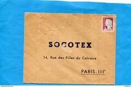 """Variété-enveloppe Réponse  Pour """"SOCOTEX"""" Non Utilisée - Avec Timbre 1263 Decaris-visage En Decalé Double - Curiosidades: 1960-69 Cartas"""