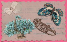 Cp Celluloid - Celluloïde - Bonne Année - Papillon - Fleur - Ajoutis - Tissus - 1913 - Neujahr