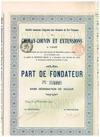 Titre Ancien -Société Anonyme Liégeoise Des Chemins De Fer Vicinaux De Chimay-Couvin Et Extensions - Titre De 1902 N°423 - Bahnwesen & Tramways