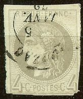 SUPERBE BORDEAUX N°41 B 4c Gris Oblitéré Cachet à Date Cote 400 € PAS D'AMINCI - 1870 Bordeaux Printing