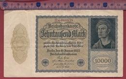 Allemagne 10000 Mark Du 19/01/1922 (L180mm-l 100mm) Dans L 'état - [ 3] 1918-1933 : República De Weimar