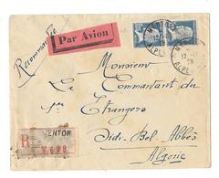 06 – Alpes Mmes « MENTON » L.R.I. 1er Ech. – Tarif P.A. « ALGERIE » à 2F.50 - Storia Postale