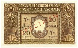 20 SOMALI CASSA PER LA CIRCOLAZIONE MONETARIA SOMALIA AFIS 1950 QFDS - [ 6] Colonias
