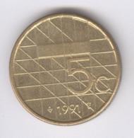 NEDERLAND 1991: 5 Gulden, KM 210 - [ 3] 1815-… : Kingdom Of The Netherlands