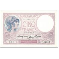 France, 5 Francs, Violet, 1940, 1940-12-26, SPL, Fayette:4.18, KM:83 - 1871-1952 Anciens Francs Circulés Au XXème