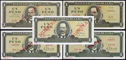CUBA 1 PESO TODOS LOS TIPOS DE SPECIMEN - Cuba