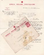 FRANCE TIMBRE IRIS 1 FRANC SUR ENVELOPPE CROIX ROUGE FRANÇAISE WW2 1941 TAMPON A DATE GRENOBLE - Marcophilie (Lettres)