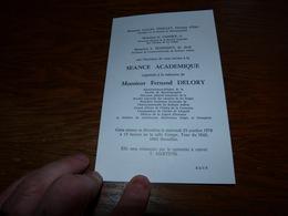 Invitation Séance Académique Fernand Delory Directeur Honoraire Chemin De Fer Belge SNCB 1978 - Programma's