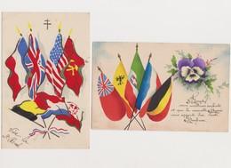 2 Cpa Patriotiques / Drapeaux Des Alliés Dont URSS - Patriottiche