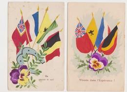 4 Cpa Patriotiques Peintes / Drapeaux Des Alliés - Patriottiche