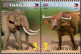 Thailand - 2019 - Fauna - Elephant And Buffalo - Joint Issue With The Philippines - Mint Stamp Set - Thaïlande