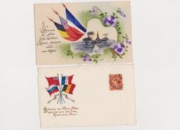 2 Cpa Patriotiques  / Drapeaux Des Alliés - Patriottiche