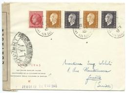 ENVELOPPE MARIANNE DE DULAC & MAZELIN / ANNECY POUR GENEVE / CENSURE / 1945 / CENTENAIRE DE LA COLOMBE DE BALE - Marcophilie (Lettres)