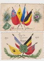 2 Cpa Patriotiques Peintes / Drapeaux Des Alliés / Unis Pour La Victoire / Pour La Civilisation - Patriottiche