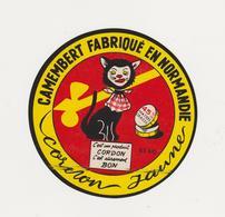 F/ETIQUETTE DE CAMEMBERT CORDON JAUNE VAUTIER MESSEI 61 AG - Quesos
