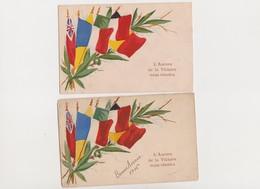 2 Cpa Patriotiques  / Drapeaux Des Alliés / L'Aurore De La Victoire Nous Réunira - Patriotic