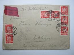 1925 , Bederkesa , Eilbrief In Die Landpostzustellung Mit 7 Mal 10 Pfg. Adler, Trotz Mangel Recht Selten - Lettres & Documents