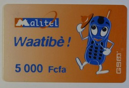 Mali - GSM - 1st Issue Top Up - Malitel - Waatibe - 5000 Units - Used - Mali
