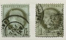 Timbre France YT 50 Et 50a (°) IIIè République Cérès 1871-75 1c Vert Olive Et Vert-bronze (45 Euros) – 183f2 - 1871-1875 Cérès