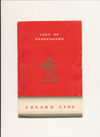 "R.M.S.  ""Queen Elisabeth"", Cunard White Star - Passengers For New York, First Class ,September 6th 1951 - Bateaux"