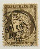 Timbre France YT 56 III République 1871-75 (°) 30c Brun Cérès Grands Chiffres CàD Reims (côte 8 Euros) – 404N - 1871-1875 Cérès