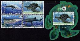 Thailand - 2019 - WWF - Preserved Wild Animals - Mint Stamp Set + Souvenir Sheet With Varnish - Thailand