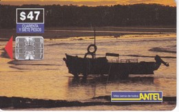 Nº 29 TARJETA DE URUGUAY DE ANTEL DE UN BOTE (BARCA) - Uruguay