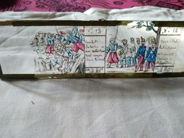 Plaque De Verre Peinte à La Main  Lanterne Magique - Campagne D'Italie 1859 - Prisonniers Autrichiens...Circa 1860  - BE - Diapositiva Su Vetro