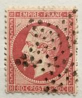 Timbre France YT 24 (°) 1862 France 80c Rose Napoléon III Non Lauré (côte 50 Euros) – 405i - 1862 Napoleon III