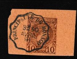 M 1151) MONACO 1891 Ganzsachenausschnitt Aus Postkarte Mi# P6, Klarer Stempel - Used Stamps