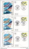 L4R279 FRANCE 1992 FDC Aerospatiale 2,50f Lunéville Nancy Roissy  12 11 1992/ 3 Envel.  Illus. - 1990-1999