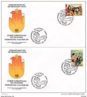 L4S028 NATIONS UNIES 1988  Geneve FDC Journée Internationale Des Volontaires 0,80, 090Fs 06 05  1988 / 2 Envel.  Illus. - FDC