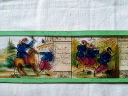 Plaque De Verre Peinte à La Main  Lanterne Magique - Campagne D'Italie 1859 - Soldats Français - T BE - Diapositiva Su Vetro