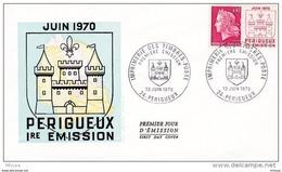 L4T085 FRANCE 1970 FDC Imprimerie Périgueux 0,40 Périgeux 13 06 1970/ Env. Illus. - 1967-70 Maríanne De Cheffer