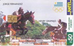 Nº 140 TARJETA DE URUGUAY DE HIPICA DE 50$ CABALLO-HORSE (CHIP G5 ROJO) - Uruguay