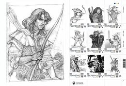 Ukraine 2019, England History, Robin Hood, Archery, Sheetlet Of 9v - Oekraïne