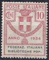 ITALIA - ENTI PARASTATALI - 1924 - Sassone 34, Federazione Nazionale Biblioteche Popolari, Nuovo Non Linguellato. - 1900-44 Victor Emmanuel III