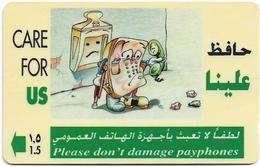 Oman - Care For Us, Payphone Damage - 33OMNH (Crossed Ø), 1997, 1.085.000ex, Used - Oman