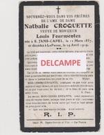 DOODSPRENTJE CROQUETTE NATHALIE VEUVE FOURMENTEZ SIN-JANS-CAPEL (FR) DE PANNE 1837 - 1919  BEWERKT TEGEN KOPIEREN - Images Religieuses