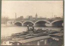Paris 13e C.1890 Le Pont Austerlitz Péniches  Photo  11X16.5cm Sur Carton Péniche LE MARGOTAT MARTINET... - Fotos