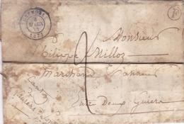 FRANCE 1844 LETTRE AVEC TAMPON A DATE GRENOBLE PLUS TAMPON F - Storia Postale