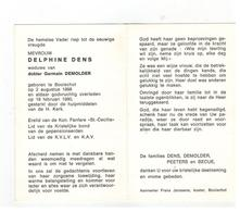 Doodsprentje Geb.te Booischot 1898 MEVR.DELPHINE DENS Wed.v Dokter Germain DEMOLDER,,gestorven 1980 - Religion &  Esoterik