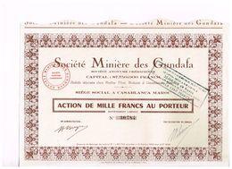 Action Ancienne - Société Minière Des Gundafa - Maroc - Titre De 1952 - Mines