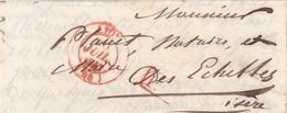 FRANCE 1847 LETTRE AVEC TAMPON A DATE ROUGE LYON PLUS TAMPON ROUGE PP - Storia Postale