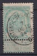 "113-  COB/OBP 56 (o)  Amb. ""Oostende-Bruxelles"" +20 - 1893-1900 Schmaler Bart"
