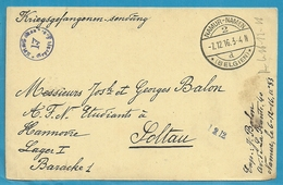 Kriegsgefangenen-sendung Met Stempel NAMUR-NAMEN Op 7/12/16 Naar SOLTAU - WW I