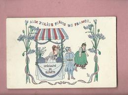 CPA -  Illustrateurs , Illustrateur  , Jobz  - Aux Jolies Fleurs De France -Spécialité De Bleuets -(militaire ) - Otros Ilustradores